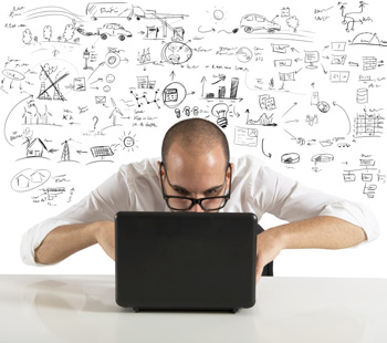 image of man and laptop with digital marketing background