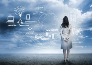 image of woman looking at a digital marketing strategy map